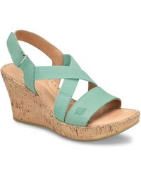 d3a37b08acef Born - Hyuro Cork Wedge Leather Sandals - Lyst
