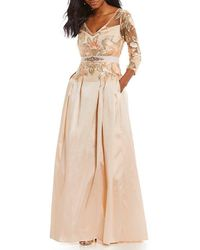 Adrianna Papell - Floral Embroidered Bodice With Long Taffeta Skirt - Lyst