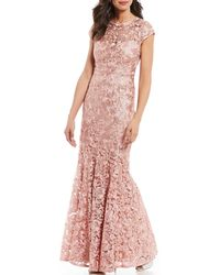 Marina Embroidered Lace Illusion Cap Sleeve A-line Gown - Pink