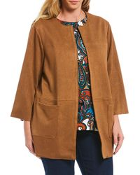 Ruby Rd. - Plus Size Textured Faux Suede Open Front Jacket - Lyst