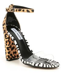 40bb04051c13 Steve Madden - Carrson Animal Print Calf Hair Transparent Dress Sandal -  Lyst