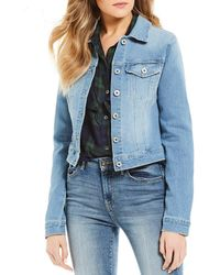22be299745 Lyst - Jessica Simpson Pixie Knit Denim Jacket in White