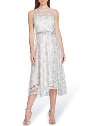 Tahari - Embroidered Fit & Flare Dress - Lyst