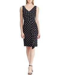 9b2c81f9be8 Lauren by Ralph Lauren - Plus Size Polka Dot V-neck Ruffle Front Jersey  Dress