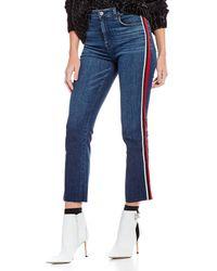 Sanctuary - Modern High Rise Sport Stripe Straight Crop Jeans - Lyst