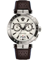 Versace - Aion Chrono 45mm Sporty Leather Strap Watch - Lyst