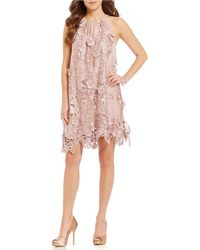 Belle By Badgley Mischka - Nia Sleeveless Embroidered Mesh Dress - Lyst