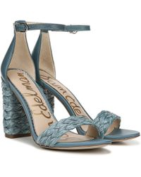 2cfba616c Sam Edelman - Yoana Woven Raffia   Leather Ankle Strap Block Heel Dress  Sandals - Lyst
