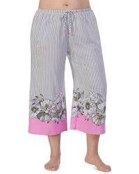 Kensie - Flower Works Wide-leg Cropped Pajama Pants - Lyst