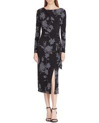 Lauren by Ralph Lauren - Floral Print Matte Jersey Midi Dress - Lyst