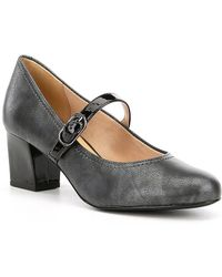 Trotters Candice Mary Jane Shimmer Leather Buckle Strap Block Heel Pumps t11IB1y