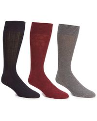 Cole Haan - Textured Argyle Crew Dress Socks 3-pack - Lyst
