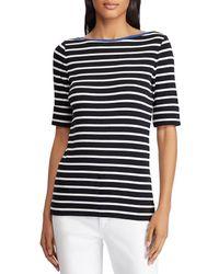 245c5b2de2c9e Lauren by Ralph Lauren - Petite Stretch Cotton Boat Neck Top (polo Black  silk