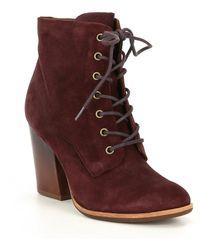 Kork-Ease - Elfa Leather Block Heel Booties - Lyst