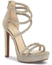 Jessica Simpson - Beyonah Rhinestone Hotfix Platform Dress Sandals - Lyst