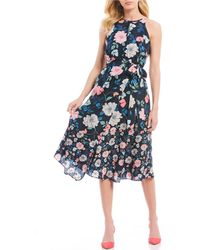 Vince Camuto - Floral Print Sleeveless Keyhole Tie Waist Midi Dress - Lyst