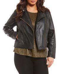 MICHAEL Michael Kors - Plus Size Genuine Lambskin Leather Moto Jacket - Lyst