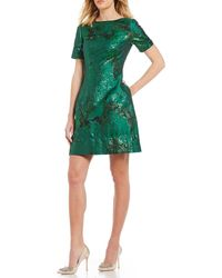 Belle By Badgley Mischka - Floral Metallic Cocktail Dress - Lyst