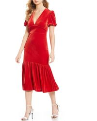 6ad119d7cb Gianni Bini - Blair Velvet Fluted Hem Midi Dress - Lyst