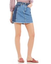 French Connection - Laos Frayed Denim Mini Skirt - Lyst