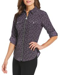 MICHAEL Michael Kors - Space Dye Texture Print Roll-sleeve Lock-tag Zip-front Shirt - Lyst
