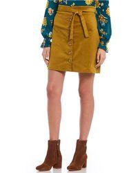 June & Hudson - High Rise Button Front Corduroy Skirt - Lyst