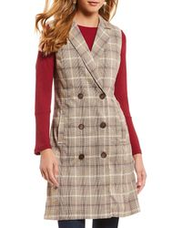 Skies Are Blue - Menswear Plaid Double Breasted Button Front Vest - Lyst
