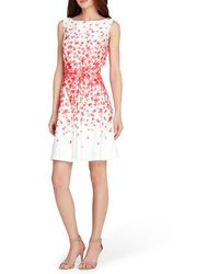 Tahari - Floral Fit And Flare Dress - Lyst
