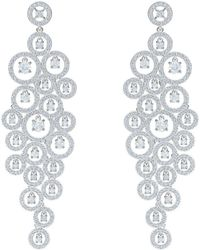 7dea0da1b Lyst - Swarovski Crystal Chain Hoop Pierced Statement Earrings