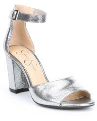 feca9c0a066e Jessica Simpson - Sherron Metallic Ankle Strap Block Heel Sandals - Lyst