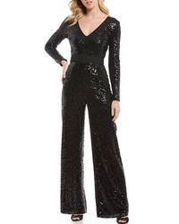 Belle By Badgley Mischka - V-neck Wide Leg Belted Sequin Jumpsuit - Lyst