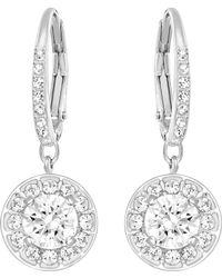 91576ceb3 Swarovski Attract Round Pierced Earrings (rhodium Plating/white) Earring -  Lyst