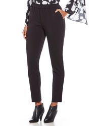 Kenneth Cole - Satin Trim Straight Leg Ankle Pull-on Pants - Lyst