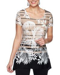 Ruby Rd. - Petite Size Short Sleeve Floral Stripe Print Sharkbite Hem Knit Top - Lyst