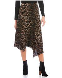 Vince Camuto - Leopard Print Asymmetrical Hem Midi Skirt - Lyst