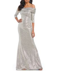 Betsy & Adam - Off-the-shoulder Metallic Gown - Lyst