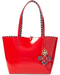 432833883a Lauren by Ralph Lauren - Reversible Tote Bag In Red And Blue Geometric  Print - Lyst