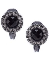 Lauren by Ralph Lauren - Jet Pave Button Clip-on Earrings - Lyst