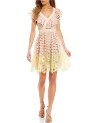 Donna Morgan - Contrast Eyelet Lace Fit And Flare Dress - Lyst