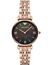 Emporio Armani - Gianni Rose Gold Bracelet Watch - Lyst