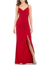 Adrianna Papell - Surplice V-neck Rouched Side Slit Jersey Gown - Lyst