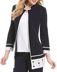 Ming Wang - Mandarin Collar Grommet Trim Jacket - Lyst