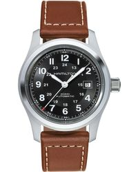 Hamilton - Khaki Field Automatic Brown Leather-strap Watch - Lyst