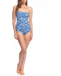 62b062098f5c4 Lauren by Ralph Lauren Painterly Stripe Lace Back One-piece (white/blue)  Swimsuits One Piece in Blue - Save 53% - Lyst