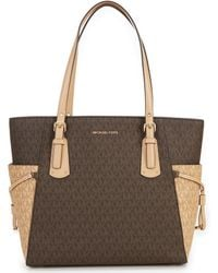 6aa3a3ac2327 Michael Kors Michael Medium Jet Set Dressy Travel Tote in Brown - Lyst