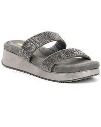 Volatile - Mondo Rhinestone Slide Sandals - Lyst