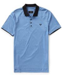 True Religion - Mercerized Henley Short-sleeve Polo - Lyst