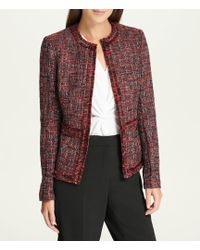 Donna Karan - New York Plaid Tweed Fringe Trim Jacket - Lyst
