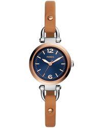 Fossil - Georgia Analog Luggage Leather-strap Watch - Lyst