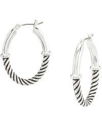 Anne Klein - Silver Textured Hoop Earrings - Lyst